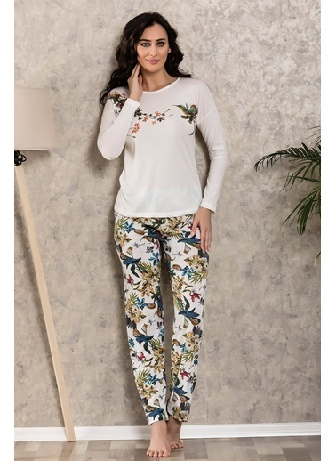 Lingabooms Kadın Pijama 4 Mevsim Pamuklu Kuşlu Üst Pantolon 2'li Takım Ekru